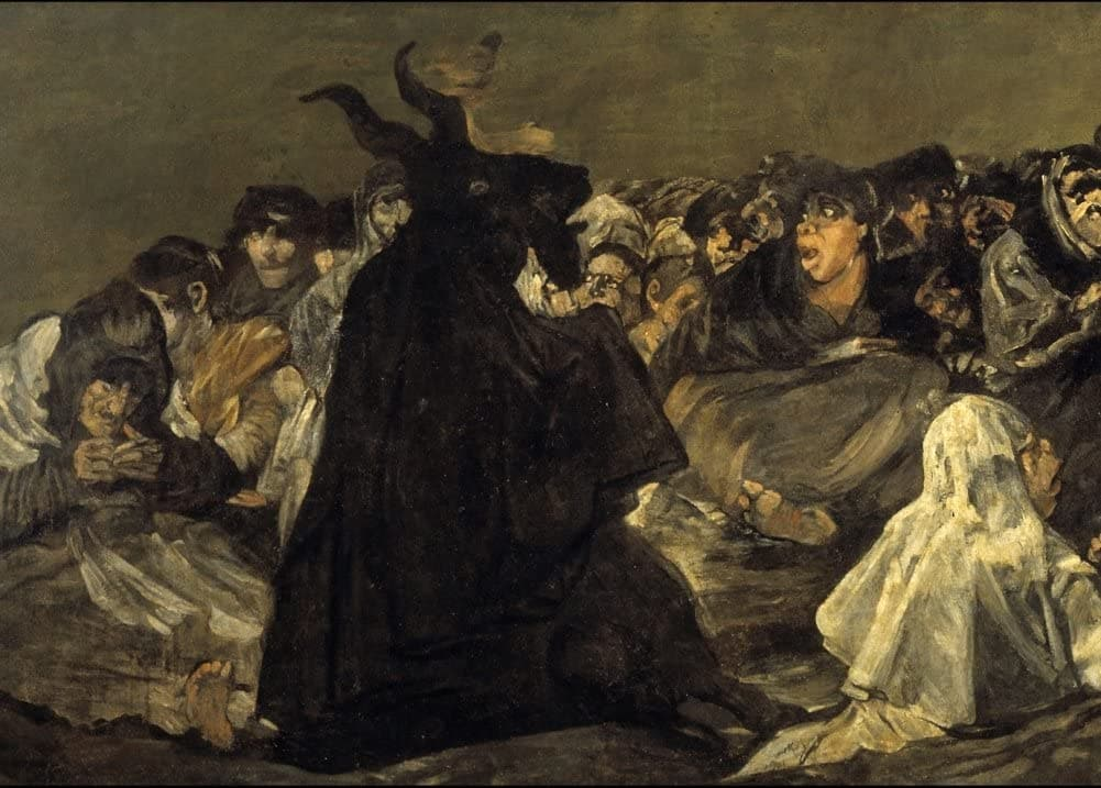 Vintage Occult and Magic 'The Coven, Detail', from 'The Black Paintings', by Francisco Goya, Spain, 1819-23, Reproduction 200gsm A3 Vintage Poster