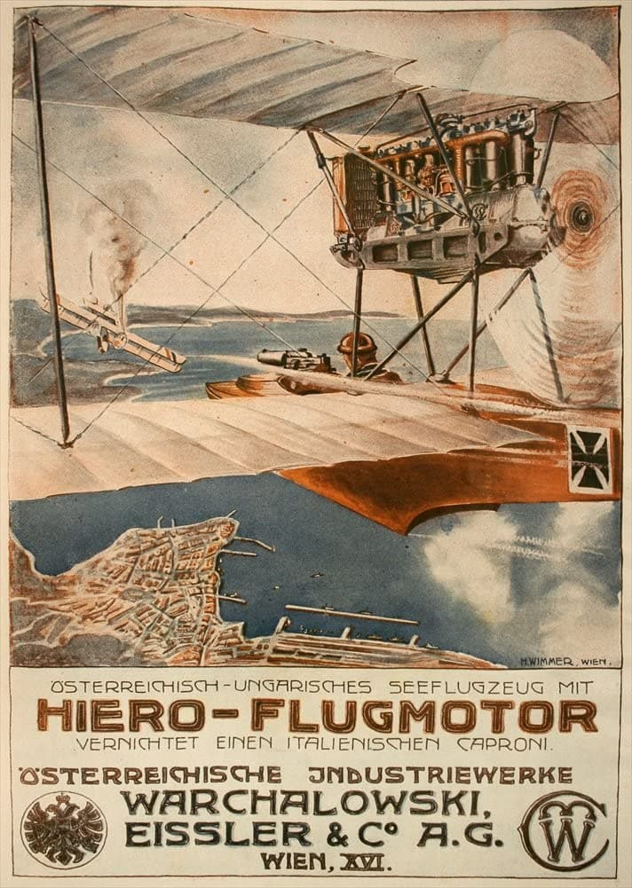Austrian WW1 1914-18 Aviation 'Hiero Flugmotor', Reproduction 200gsm A3 Vintage Propaganda Poster