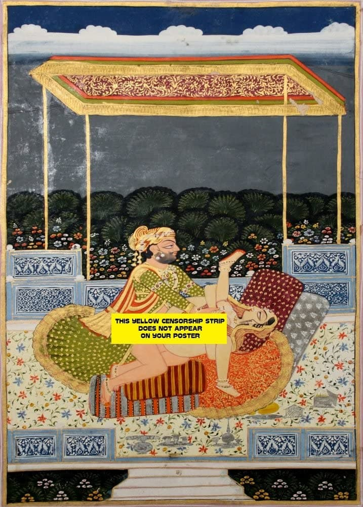 Classic Indian Erotic Art 'Royal Man and Woman Making Love Under a Canopy in a Palace Terrace', Rajput, Jodhpur, 1820-30, Reproduction 200gsm A3 Vintage Poster