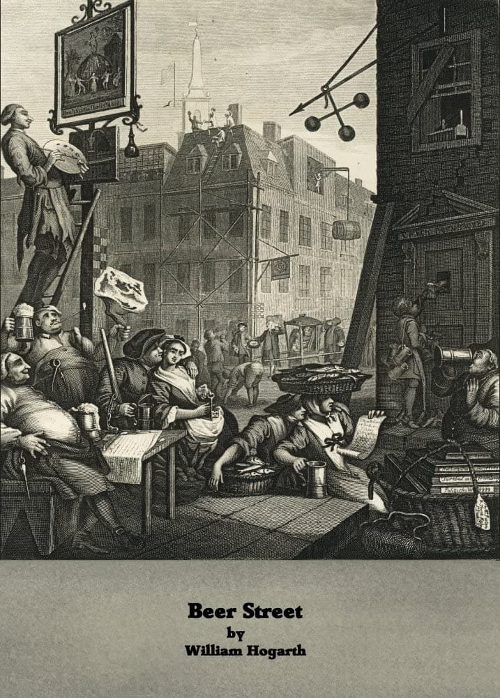 William Hogarth 'Gin Lane, Beer Street', England, 18th Century, Reproduction 200gsm A3 Classic Art Poster