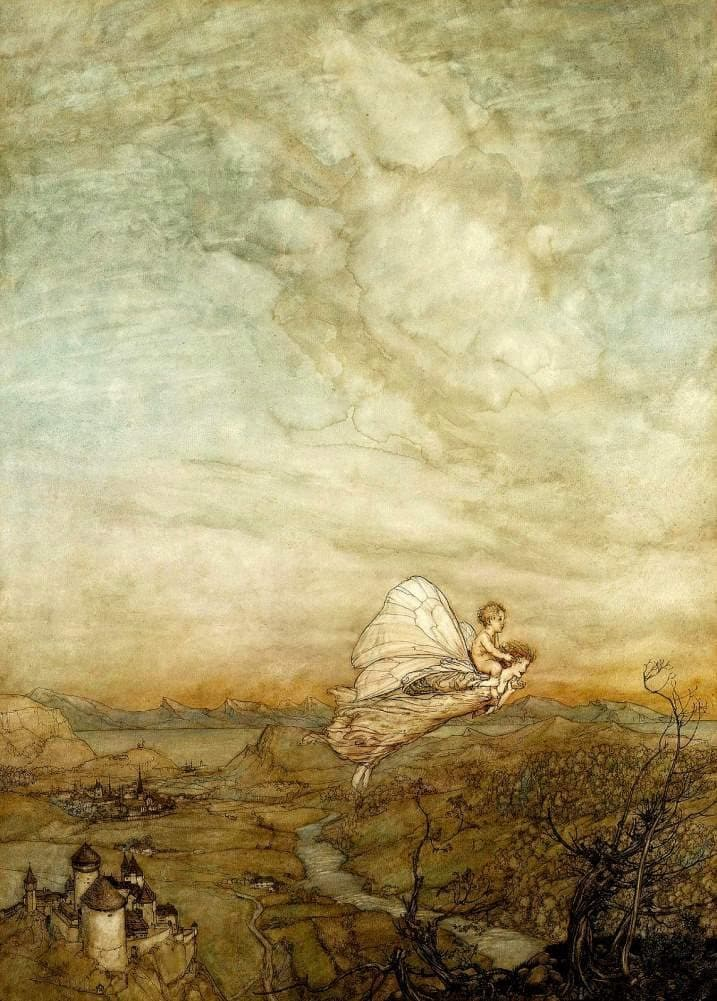 Arthur Rackham 'Bear The Changeling Child to My Bower in Fairy Land', from 'A Midsummer Night's Dream', England, 1913, Reproduction 200gsm A3 Shakespeare Poster