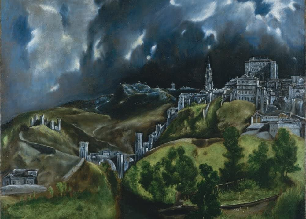 El Greco 'View of Toledo, Detail', 1596, Spain, Reproduction 200gsm A3 Classic Art Poster