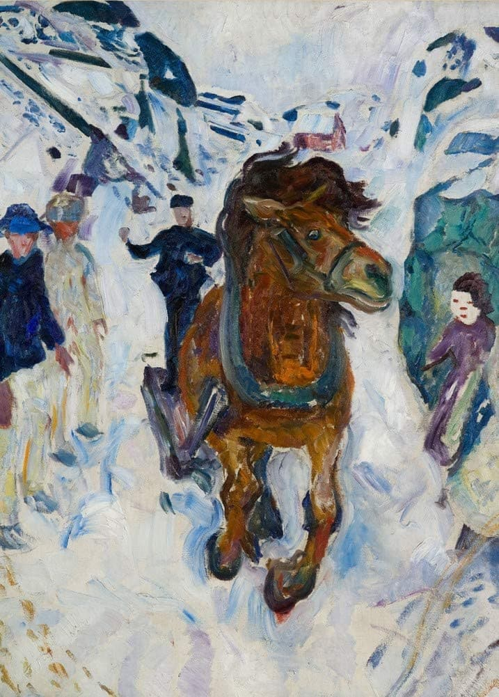 Edvard Munch 'Galloping Horse, Detail', Norway, 1910-12, Reproduction 200gsm A3 Vintage Classic Art Poster