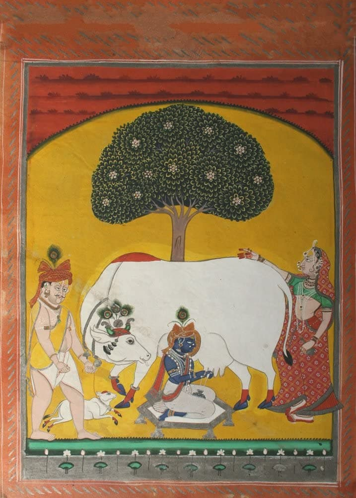 Classic Indian Art 'Krishna Milking a Cow', Nathdwara, 1840, Reproduction 200gsm A3 Vintage Poster
