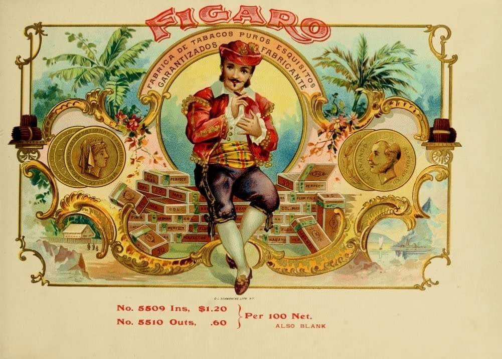 Vintage Tobacco, Cigarettes and Cigars 'Figaro Cigars', U.S.A, 1890's, Reproduction 200gsm A3 Vintage Art Nouveau Poster