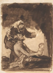 Goya 'A Woman Giving a Mug to an Old Man', Spain, 1812-20, Reproduction 200gsm A3 Vintage Classic Art Poster