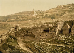 Valley of The Tombs of Jehoshaphat, Jerusalem, Holy Land Antique Photo, 1890's, Reproduction 200gsm A3, Israel, Palestine, Vintage Travel Poster