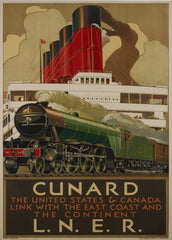 Vintage Travel Canada 'Cunard Line Also to America', 1939, Reproduction 200gsm A3 Vintage Art Deco Travel Poster