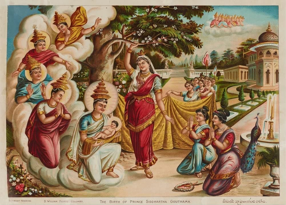 Classic Indian Art 'The Birth of Prince Siddhartha Gautama', by Maligawage Sarlis, Sri Lanka, 20th Century, Reproduction 200gsm A3 Vintage Poster