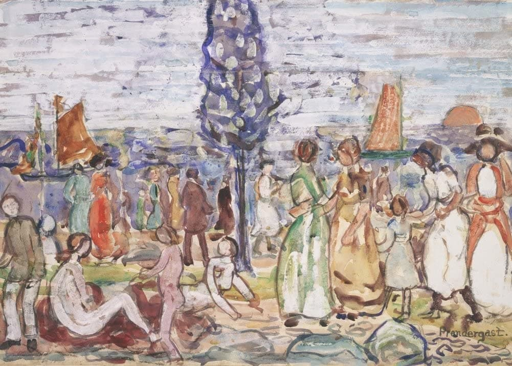 Maurice Brazil Prendergast 'Beach with Blue Tree', U.S.A, 1917-1918, American Post-Impressionism, Reproduction 200gsm A3 Vintage Classic Art Poster