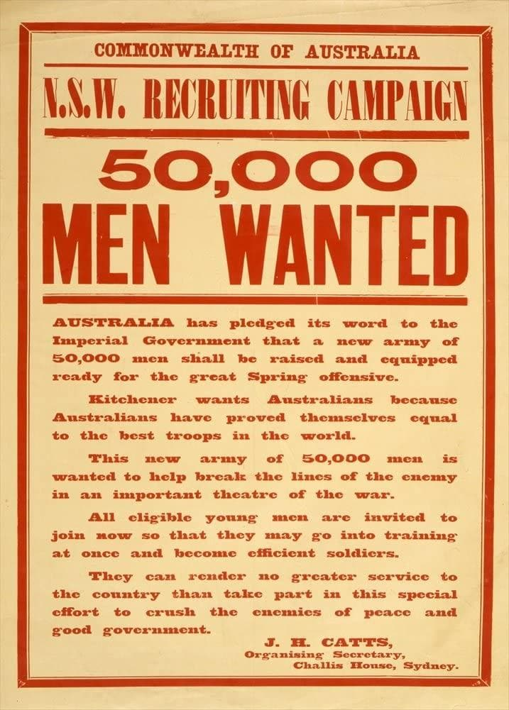 Australian WW1 1914-18 Propaganda 'New South Wales Recruiting Campaign', Reproduction 200gsm A3 Vintage Propaganda Poster