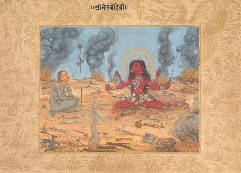 Classic Indian Art 'The Goddess Bhairava Devi with Shiva', Mughal, 17th Century, Reproduction 200gsm A3 Vintage Poster