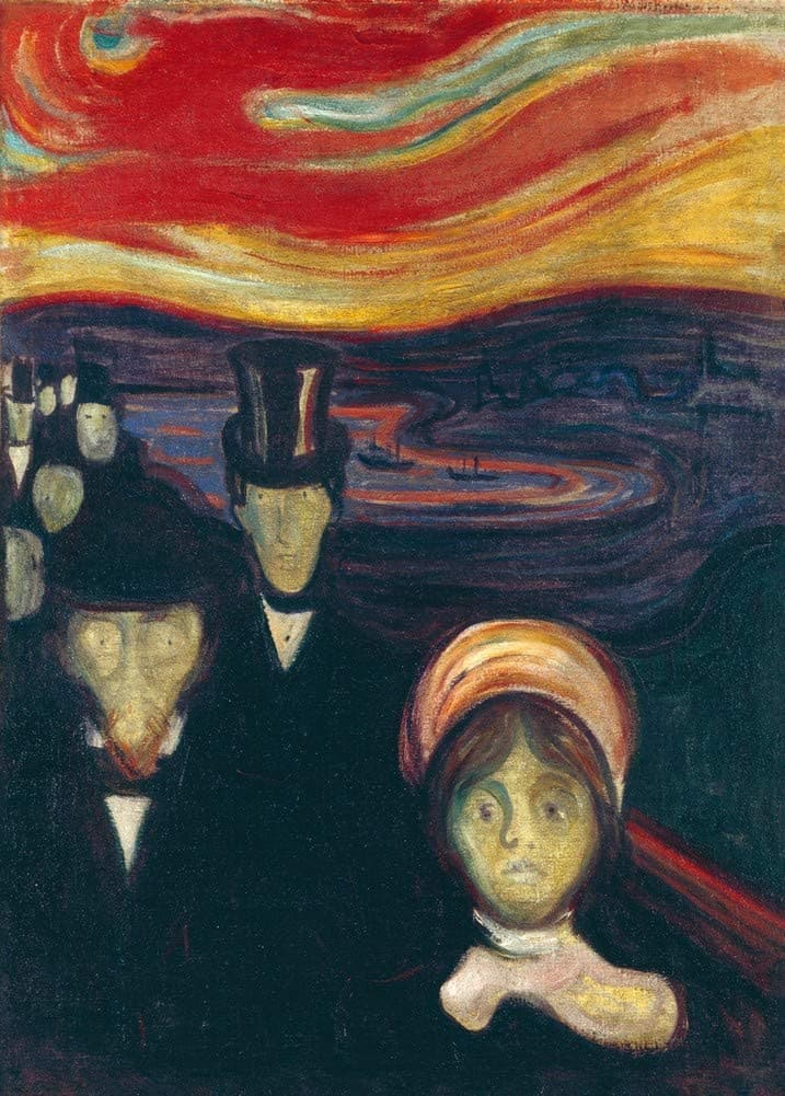 Edvard Munch 'Anxiety', Norway, 1894, Reproduction 200gsm A3 Vintage Classic Art Poster