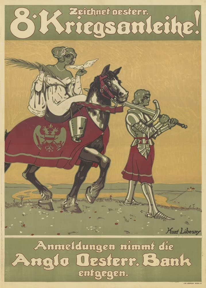 Austrian WW1 1914-18 Propaganda 'Draw The Eighth War Bonds', Reproduction 200gsm A3 Vintage Propaganda Poster