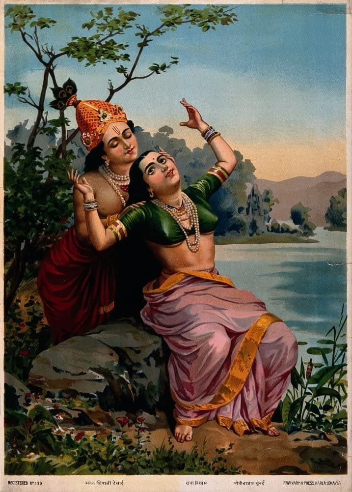 Classic Indian Art 'Krishna Embracing Radha', Ravi Varma Press, 20th Century, Reproduction 200gsm A3 Vintage Poster