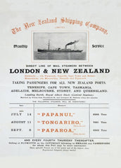 Vintage Travel New Zealand 'London via Tenerife with The New Zealand Shipping Company', 1904, Reproduction 200gsm A3 Vintage Travel Poster