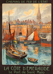 Vintage Travel France 'The Port of Saint Malo', 1920's, Reproduction 200gsm A3 Vintage Art Deco Travel Poster