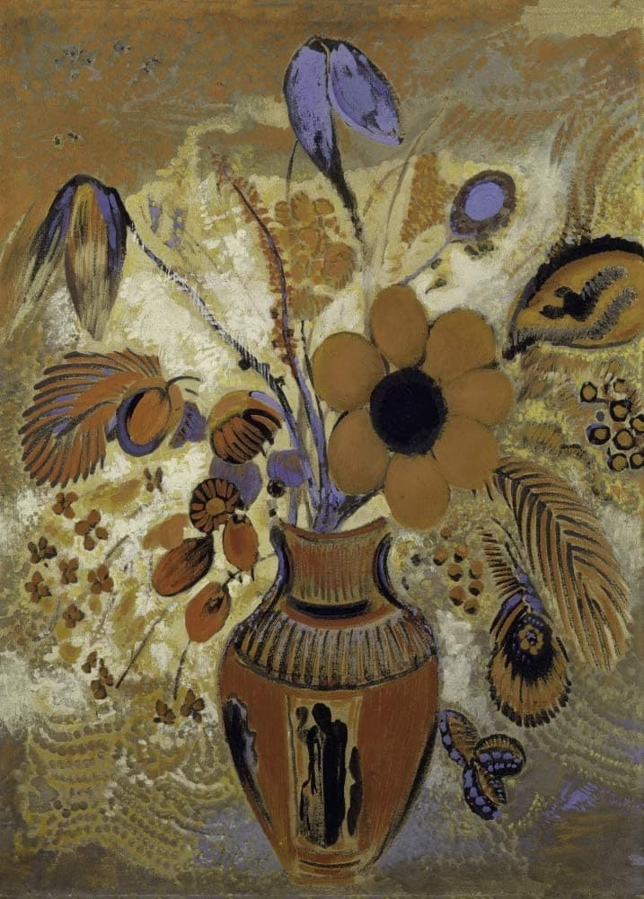 Odilon Redon 'Etruscan Vase with Flowers', France, 1900-1910, Reproduction 200gsm A3 Vintage Classic Art Poster