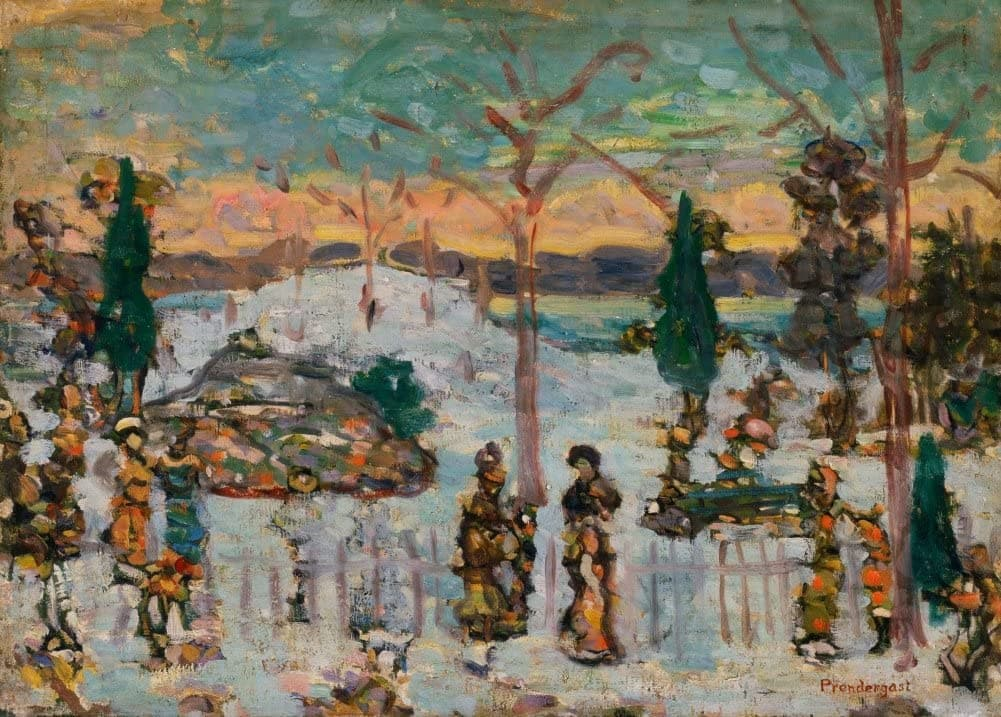 Maurice Brazil Prendergast 'Snow in April, Detail', U.S.A, 1907, American Post-Impressionism, Reproduction 200gsm A3 Vintage Classic Art Poster