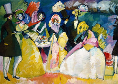 Kandinsky 'Group in Crinolines, Detail', Russia, 1909, Reproduction 200gsm A3 Vintage Classic Art Poster