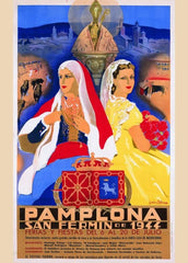 Vintage Travel Spain 'Pamploa Festival, San Fermin', 1944, Reproduction 200gsm A3 Vintage Art Deco Travel Poster