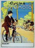 Vintage Cycling 'Automoto Cycles', France, 1920's, Reproduction 200gsm A3 Vintage Art Deco Cycling Poster