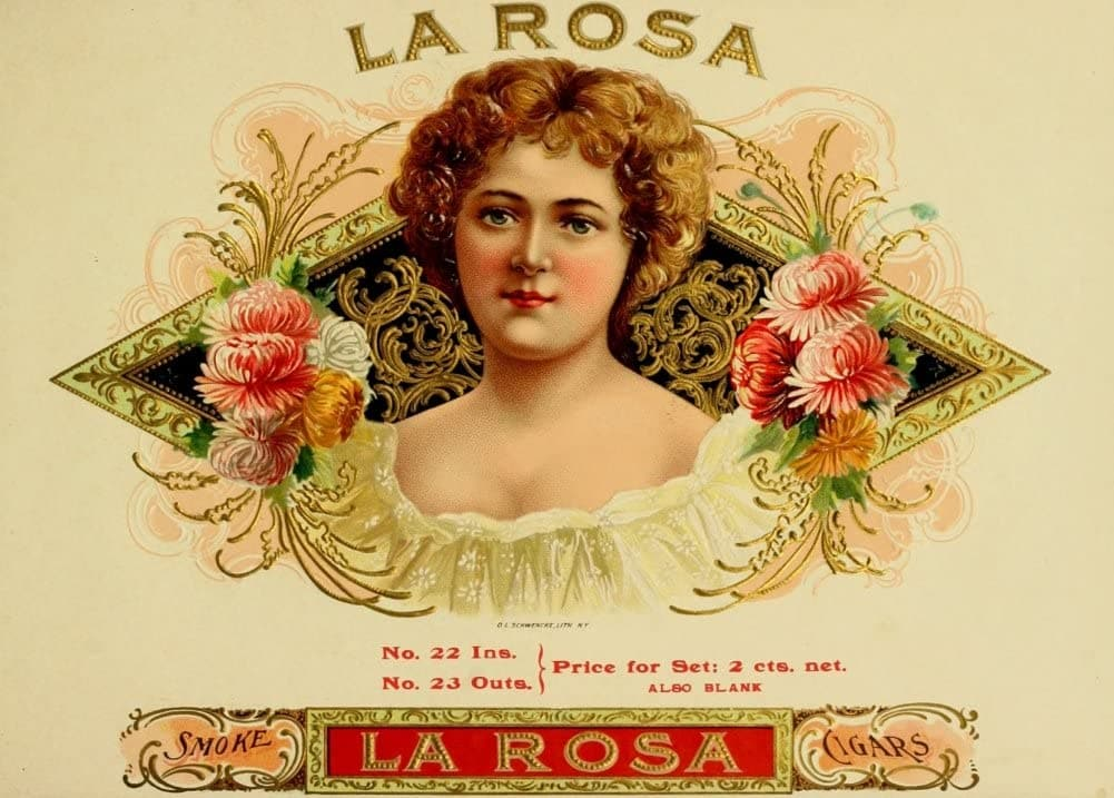 Vintage Tobacco, Cigarettes and Cigars 'La Rosa Cigars', U.S.A, 1890's, Reproduction 200gsm A3 Vintage Art Nouveau Poster