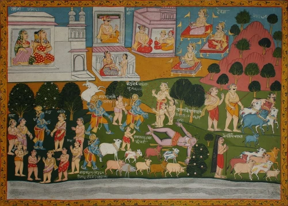 Classic Indian Art 'Krishna and The Demon Vatsasura', Bagavata Puruna, Datia, Circa. 1790-1800, Reproduction 200gsm A3 Vintage Poster