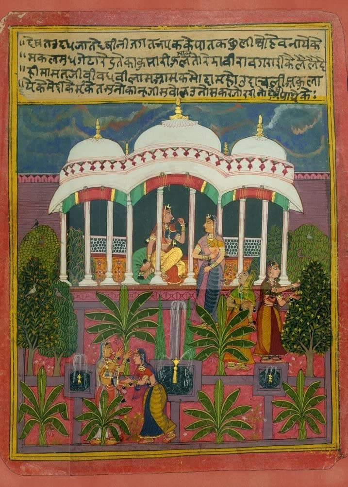 Classic Indian Art 'The Cultivated Lover', Rasikapriya Series, Rajput, Mewar, Circa. 1650, Reproduction 200gsm A3 Vintage Poster