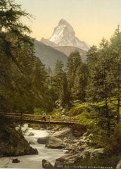 Vintage Travel Switzerland 'Zermatt, Vispach Bridge, with top of Matterhorn, Valais, Alps', Circa 1890-1910, Reproduction 200gsm A3 Vintage Photography Travel Poster