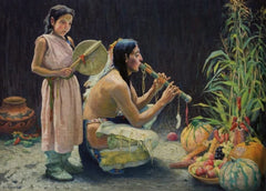 Eanger Irving Couse 'The Harvest Song, Detail', U.S.A, 1920, Reproduction 200gsm A3 Vintage Classic Native American Art Poster