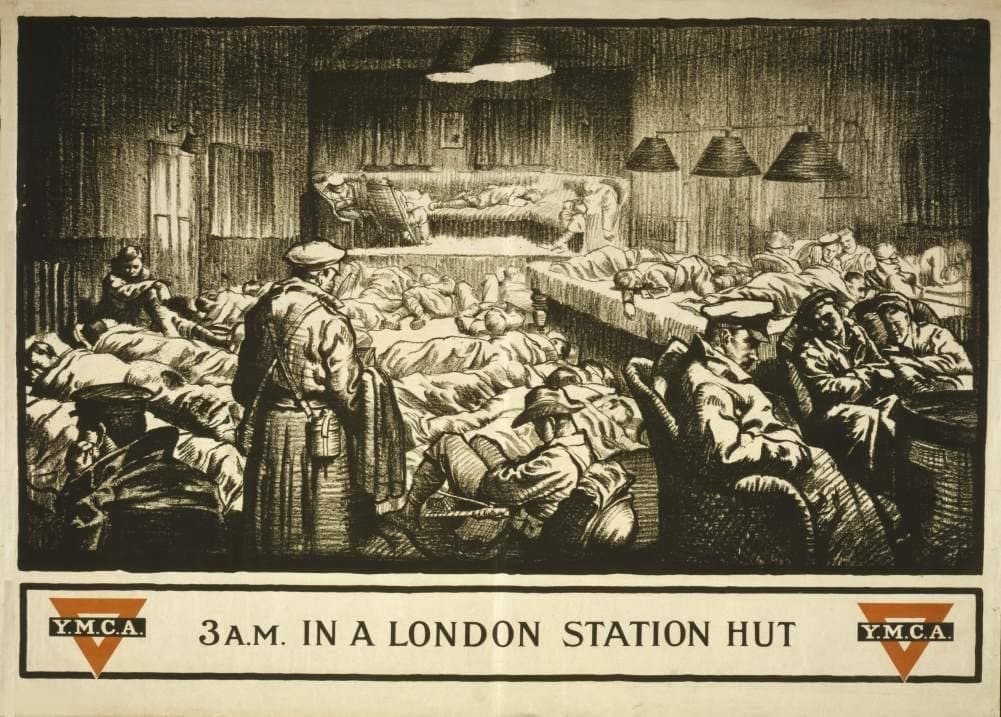 Vintage British WW1 Propaganda 'London Y.M.C.A Station at 3.a.m', England, 1914-18, Reproduction 200gsm A3 Vintage Propaganda Poster