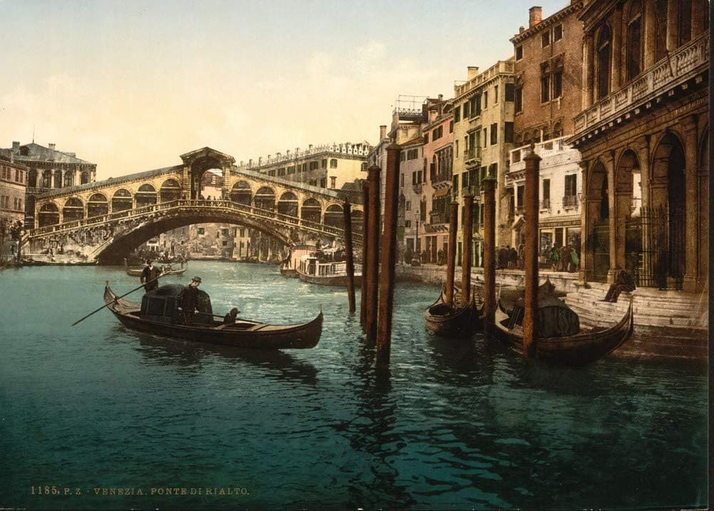 Vintage Travel Italy 'The Rialto Bridge, Venice', Circa. 1890-1910, Reproduction 200gsm A3 Vintage Travel Photography Poster