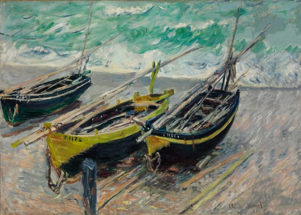 Claude Monet 'Three Fishing Boats', France, 1886, Impressionism, Reproduction 200gsm A3 Vintage Classic Art Poster
