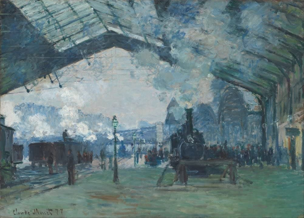 Claude Monet 'Saint-Lazare Station, The Train to Normandy', France, 1877, Impressionism, Reproduction 200gsm A3 Vintage Classic Art Poster