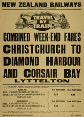 Vintage Travel New Zealand 'Christchurch to Diamond Harbour and Corsair Bay with Combined Weekend Fares with New Zealand Railways', 1924, Reproduction 200gsm A3 Vintage Art Deco Travel Poster