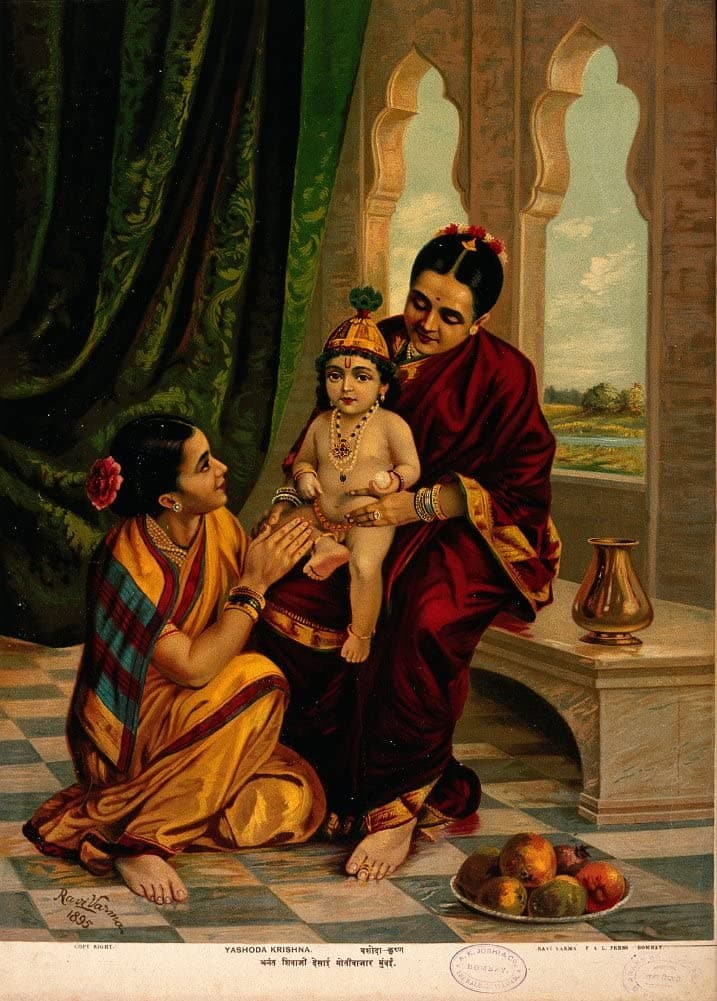 Classic Indian Art 'The Infant Krishna Sitting on Yosada's Lap with a Female Attendant', Ravi Varma Press, 1895, Reproduction 200gsm A3 Vintage Poster