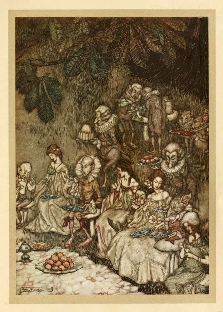 Arthur Rackham 'The Fairies sit Round on Mushrooms', from 'Peter Pan in Kensington Gardens', by J.M Barrie, 1906, Reproduction Vintage 200gsm A3 Classic Art Poster