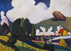 Kandinsky 'Landscape Near Murnau with Locomotive', Russia, 1909, Reproduction 200gsm A3 Vintage Classic Art Poster