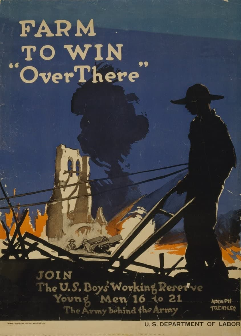 Vintage U.S WW1 Propaganda 'Farm to Win Over There. Join The U.S Boys Working Reserve for Young Men, Sixteen to Twenty-One', U.S.A, 1914-18, Reproduction 200gsm A3 Vintage Propaganda Poster