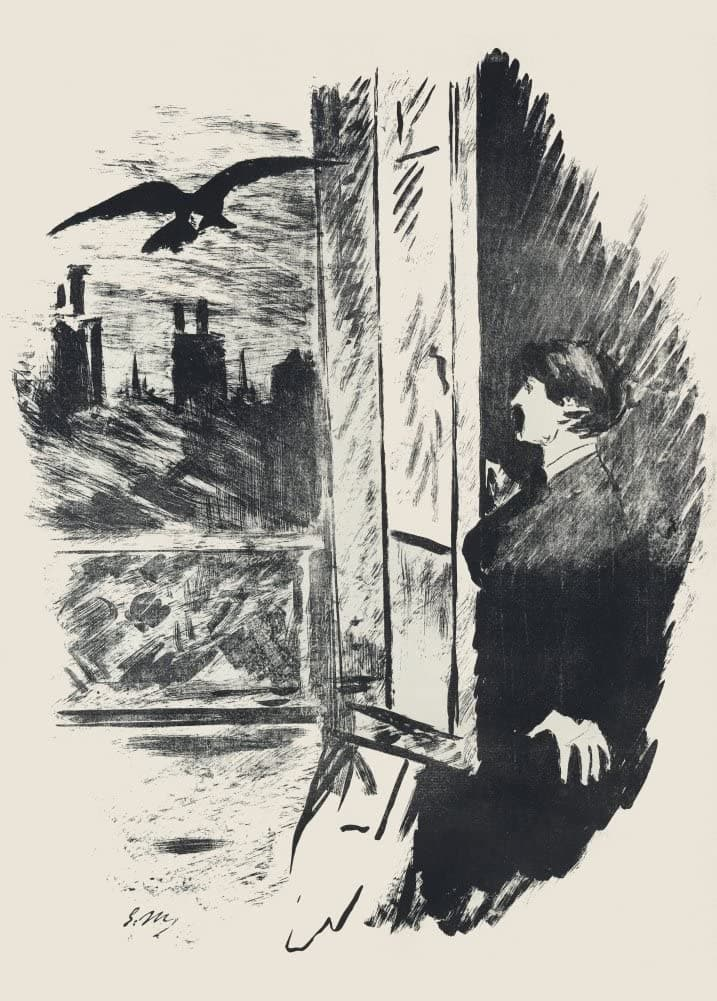Edgar Allan Poe 'The Raven', Illustration 2 by Edouard Manet, from 1875, Reproduction 200gsm A3 Vintage Classic Art Poster