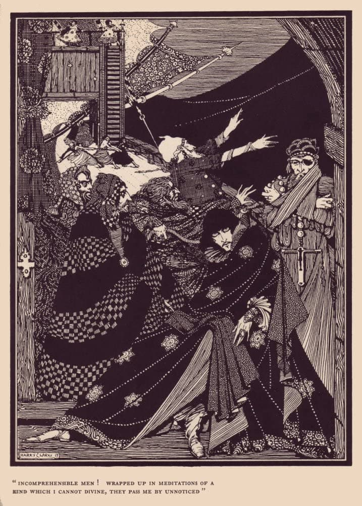 Harry Clarke 'Incomprehensible Men!', from 'Tales of Mystery and Imagination', Ireland, 1919 by Edgar Allan Poe, Reproduction 200gsm A3 Vintage Classic Art Poster