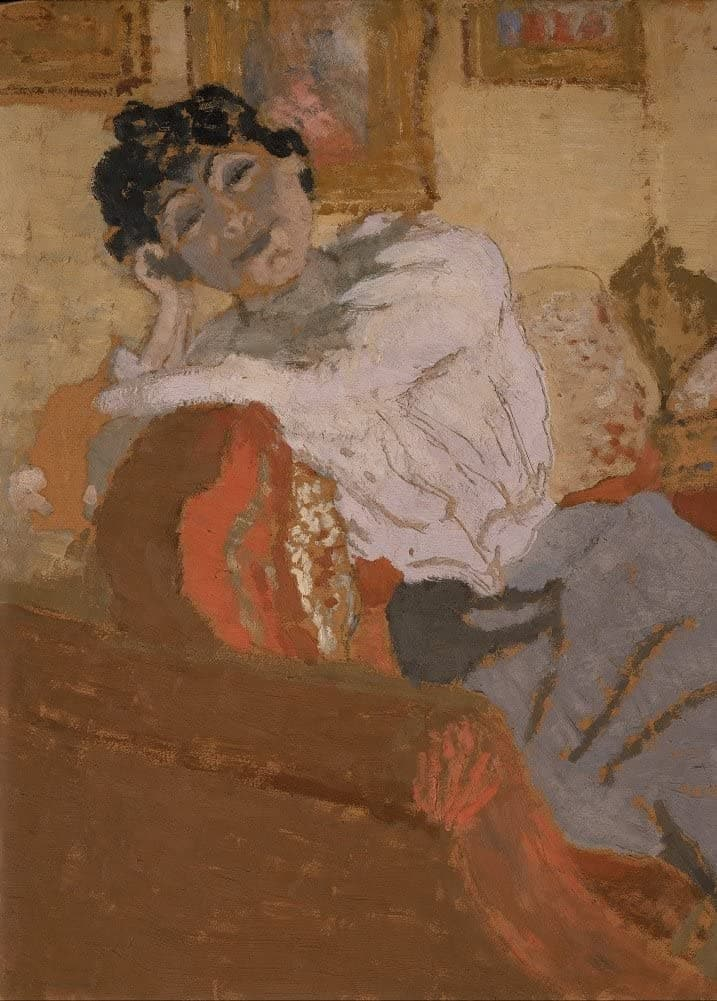 Edouard Vuillard 'Madame Hessel on The Sofa, Detail', France, 1900, Impressionism, Reproduction 200gsm A3 Vintage Classic Art Poster