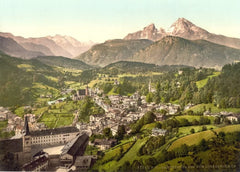 Vintage Travel Germany 'Berchtesgaden from Lochstein, Upper Bavaria', 1890's, Reproduction 200gsm A3 Photography Travel Poster