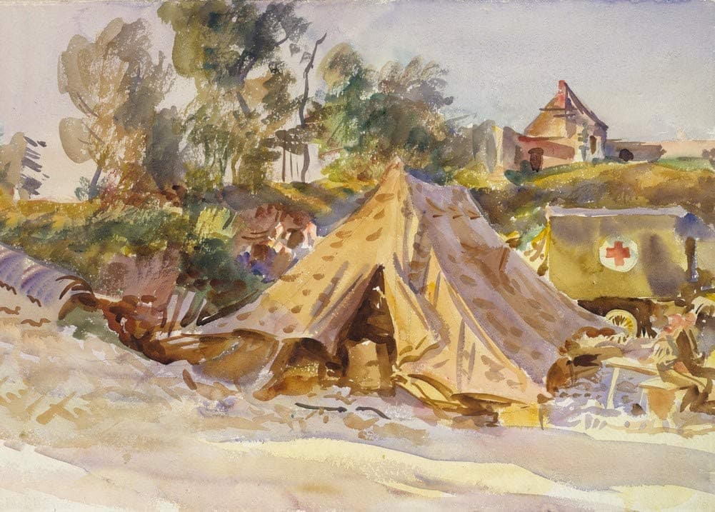 John Singer Sargent 'Camp with Ambulance', U.S.A, 1918, Reproduction 200gsm A3 Vintage Classic Art Poster