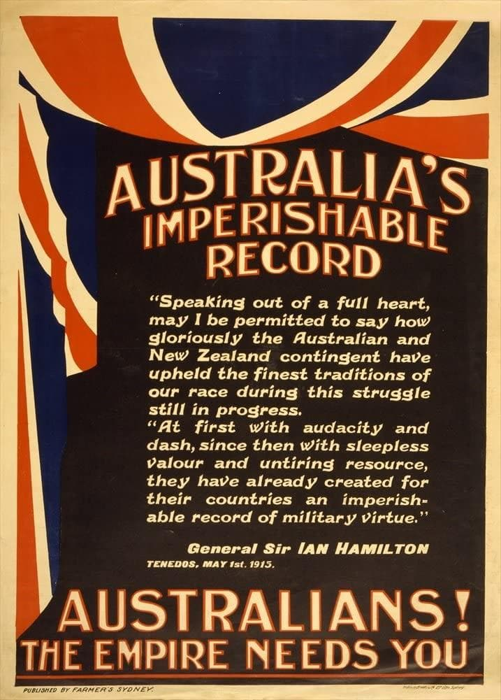 Australian WW1 1914-18 Propaganda 'Australia's Imperishable Record. The Empire Needs You!', Reproduction 200gsm A3 Vintage Propaganda Poster