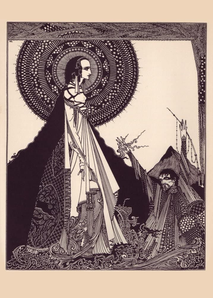 Harry Clarke 'I Would Call Loud Upon her Name', from 'Tales of Mystery and Imagination', Ireland, 1919 by Edgar Allan Poe, Reproduction 200gsm A3 Vintage Classic Art Poster