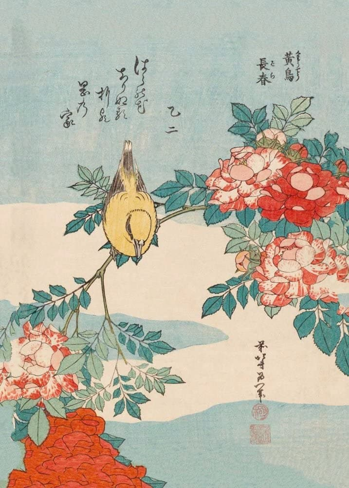 Hokusai 'Roses and Bird', Japan, 18-19th Century, Reproduction 200gsm A3 Ukiyo-e Classic Art Poster