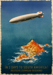 Vintage Travel Germany 'Zeppelin for South America in Three Days', 1935, Reproduction 200gsm A3 Vintage Art Deco Poster