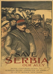 American WW1 1914-18 Propaganda 'Save Serbia Our Ally', Reproduction 200gsm A3 Vintage U.S Propaganda Poster